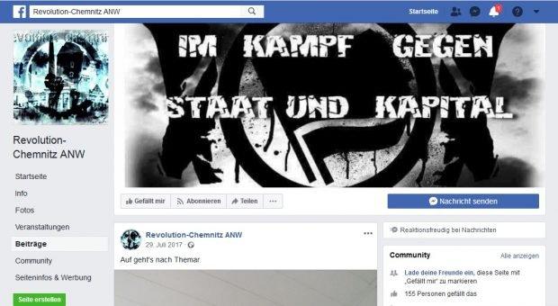 """""""Auf gehts nach Themar"""" (zum Neonazisfestival in Thüringen). Die """"Revolution Chemnitz"""" auf Facebook. Nationale Sozialisten im Netzwerk. Screen Facebook, Seite ist mittlerweile geschlossen."""