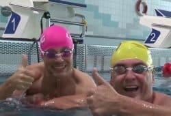 Nass gemacht: Norman Landgraf (re.) und Martin Hoch. Foto: Screenshot Sportpunkt
