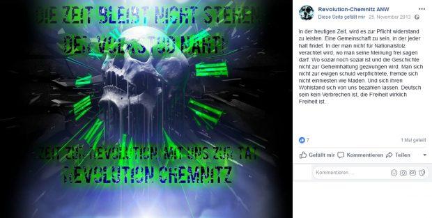 """Der """"Volkstod"""" bei der Revolution Chemnitz schon im Jahr 2013. Rechts sein, scheint in der Erzgebirgsstadt schon lange schick zu sein. Screen Facebook, Seite ist mittlerweile geschlossen."""
