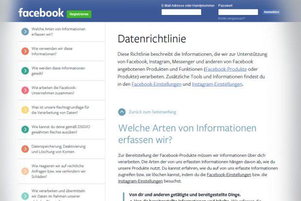 Die Datenrichtlinien von Facebook. Screenshot: L-IZ