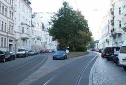 Der Gohliser Anger in der Menckestraße. Foto: Ralf Julke
