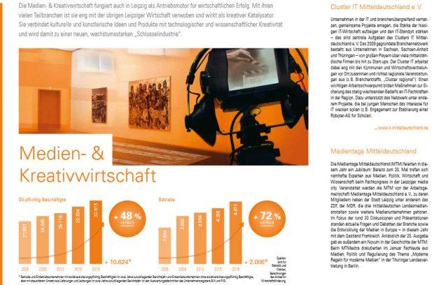 Die erste Seite zur Medien-und Kreativwirtschaft. Quelle: Stadt Leipzig, Wirtschaftsbericht 2018