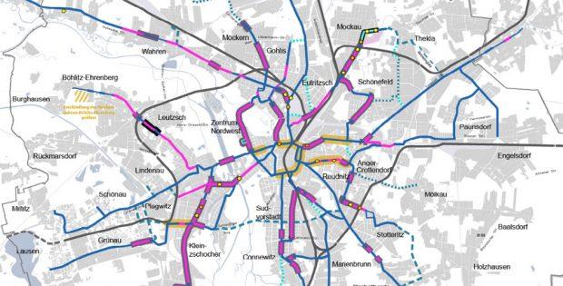 Bauvorhabenkarte im Nahverkehrsplan - die Trassenfreihaltungen sind blau gestrichelt. Karte: Stadt Leipzig, Nahverkehrsplan 2024
