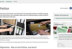 Die Petitionsseite des Sächsischen Landtags. Screenshot: L-IZ
