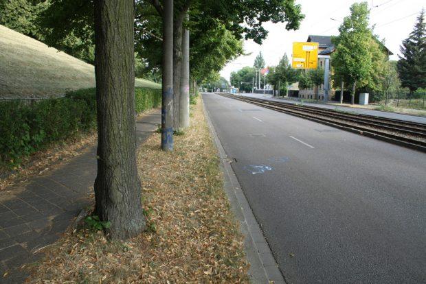 Die derzeitige Situation vor Ort am Völkerschlachtdenkmal an der Pragerstraße. Foto: Ralf Julke