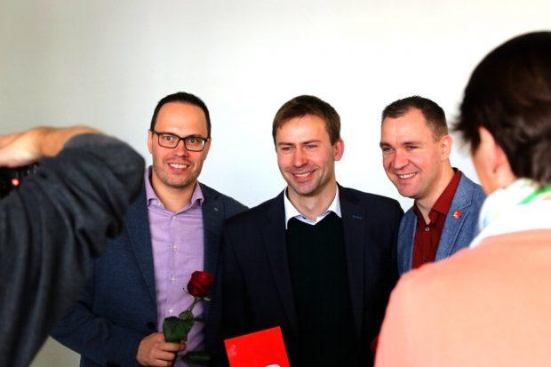 Die SPD-Herrencombo zur Landtagswahl in Leipzig: Dirk Panter, Holger Mann und Michael Schmidt wurden am Samstag, 10. November in Leipzig nominiert. Foto: L-IZ.de