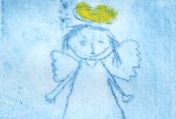 Engel, Druckgrafik eines Kindes (c) Museum für Druckkunst Leipzig
