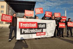 Protestaktion vor dem sächsischen Landtag. Quelle: Die Linke Sachsen