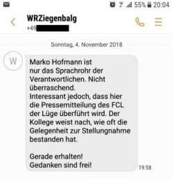 WRZ versendet SMS. Erst keine Antworten, dann Abwertung des Kritikers. Screen L-IZ.de