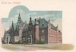 Postkarte: Deutsches Buchhändlerhaus Gruss aus Leipzig, Farblithographie, Leipzig um 1900. Foto: DNB