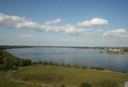Der Cospudener See von Süden. Foto: Ralf Julke