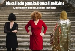 """Ankündigung für die Literaturshow """"Die schlecht gemalte Deutschlandfahne"""". Foto: Isabelle Lehn, Rebecca Salentin"""
