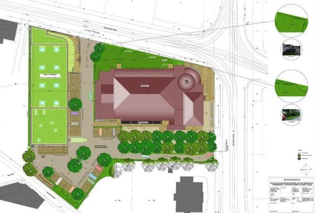 So sollte das Gelände nach dem Umbau eigentlich aussehen: Grün an derf Zschocherschgen Straße,Bäume und Grün auf der Parkfläche. Grafik: S&G Developement