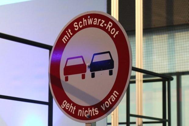 """Gegen eine Zukunft nur von """"Schwarz-Rot"""" in Sachsen. Foto: Michael Freitag"""