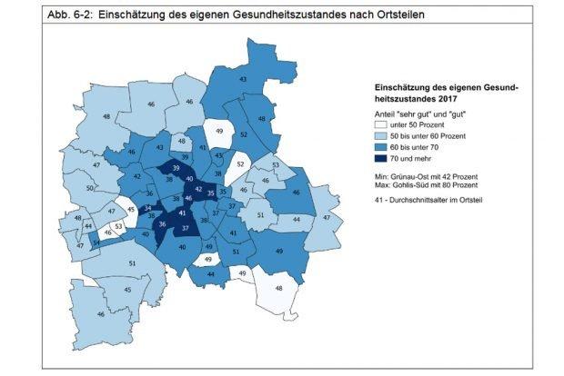 Einschätzung des Gesundheitszustandes nach Ortsteilen. Grafik: Stadt Leipzig, Bürgerumfrage 2017