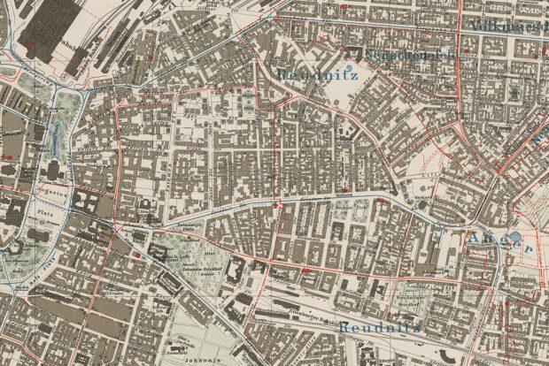 Das Graphische Viertel in Leipzig 1913. Ausschnitt aus dem amtlichen Stadtplan der Stadt Leipzig von 1913; Foto: DNB