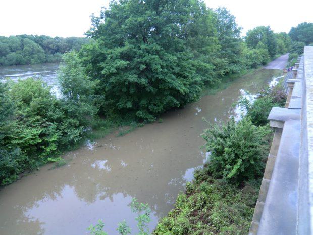Hochwasser 2013: Das Elsterbecken ist übergelaufen. Foto: Marko Hofmann