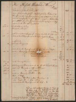 Kontoauszug Georg Joachim Göschens für Christoph Martin Wieland, 1795 bis 1796, mit Schmauchspuren. Foto: DNB