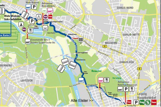 Der Kurs 3 im WTNK - wahlweise über den freigelegten Elstermühlgraben und (hellblau) die neue Alte Elster. Karte: Grüner Ring Leipzig