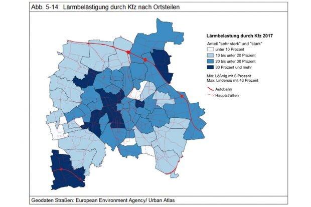 Lärmbelastung durch Kfz-Verkehr. Grafik: Stadt Leipzig, Bürgerumfrage 2017
