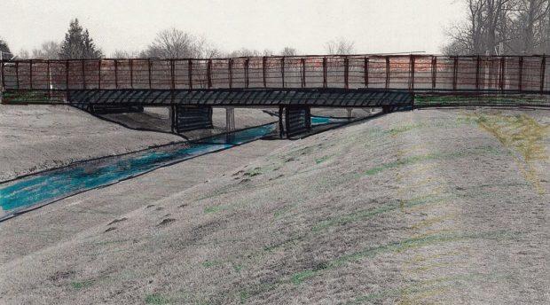 Die von der Stadt gewünschte Neubauvariante der Brücke über die Nahle: zu niedrig, mit Betonpfeilern vefbaut. Kein Platz für Radwege und große Hochwasser. Grafik: Heiko Rudolf