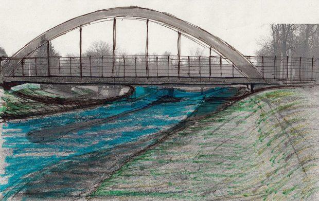 Vorschlag Stabbogenbrücke über der Nahle: Unter der Brücke gibt es mehr Platz für den Fluss, für Hochwasser und für einen möglichen Radweg zum Nahleberg. Grafik: Heiko Rudolf