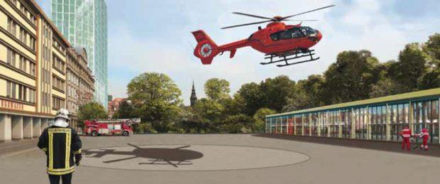 Garagen und Hubschrauberlandeplatz auf dem Vorplatz der Hauptfeuerwache. Visualisierung: Neue Ufer e.V.