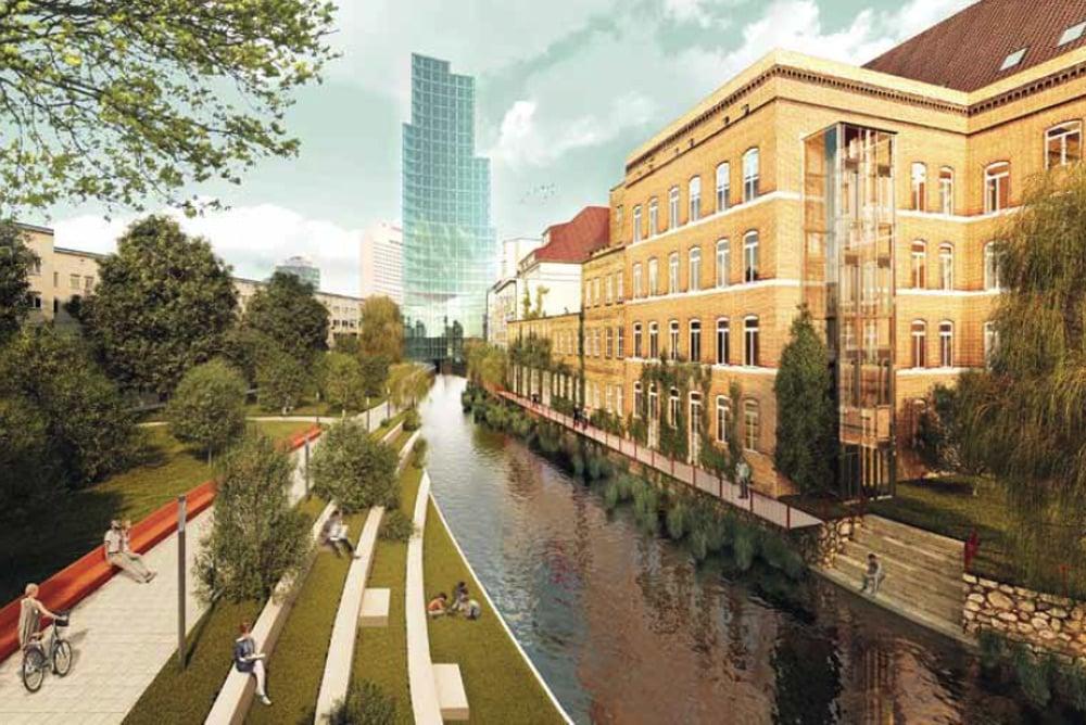 So könnte es hinter der Hauptfeuerwache mit geöffnetem Pleißemühlgraben aussehen. Visualisierung: Neue Ufer e.V.