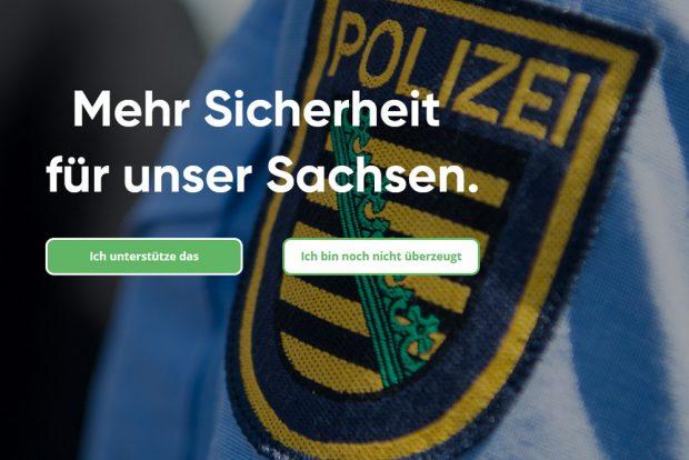 Die Kampagnen-Homepage der CDU zu Polizeigesetz. Screenshot: L-IZ