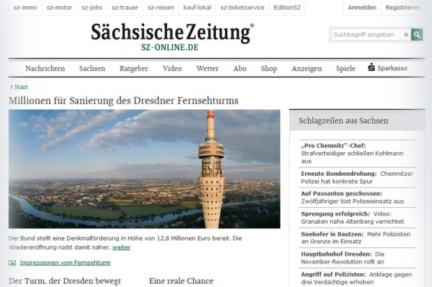 Aktuelle Homepage der Sächsischen Zeitung. Screenshot: L-IZ
