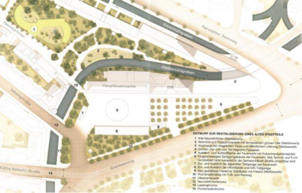Der historische Verlauf des Pleißemühlgrabens an der Hauptfeuerwache. Zeichnung des Neue Ufer Leipzig e. V. entspricht nicht exakt dem ursprünglichen Verlauf.