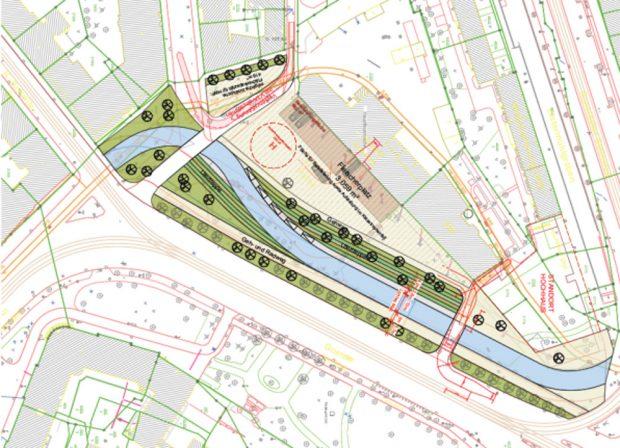 Vorzugsvariante der Stadt zum Neubau des Pleißemühlgrabens am Goerdelerring. Karte: Stadt Leipzig