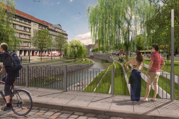 Pleißemühlgrabenöffnung am Goerdelerring. Visualisierung: Stadt Leipzig