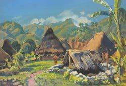 Ernst Vollbehr: Dorf der Igorotten (Philippinen), 65 x 48 cm, Gouache. Foto: Leibniz-Institut für Länderkunde