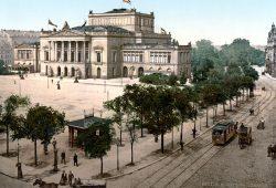 Leipzig um 1900 mit dem Neuen Theater auf dem Augustusplatz. Der Vorgänger des heutigen Opernhauses wurde 1943 bei einem Luftangriff zerstört. Foto: Library of Congress, gemeinfrei