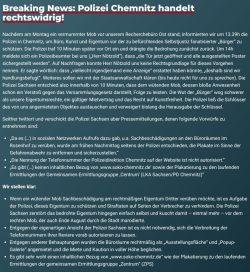 Mitteilung ZPS zum Polizeieinsatz. Screen: soko-chemnitz.de
