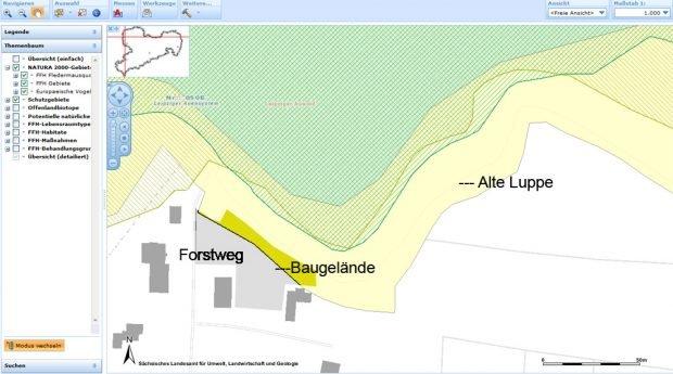 Kartenausschnitt vom Landschaftsschutzgebiet Leipziger Auenwald. Karte: Freistaat Sachsen, LfULG