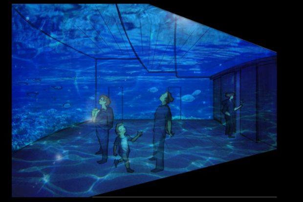 Das neue Foyer im Aquarium. Visualisierung: Zoo Leipzig