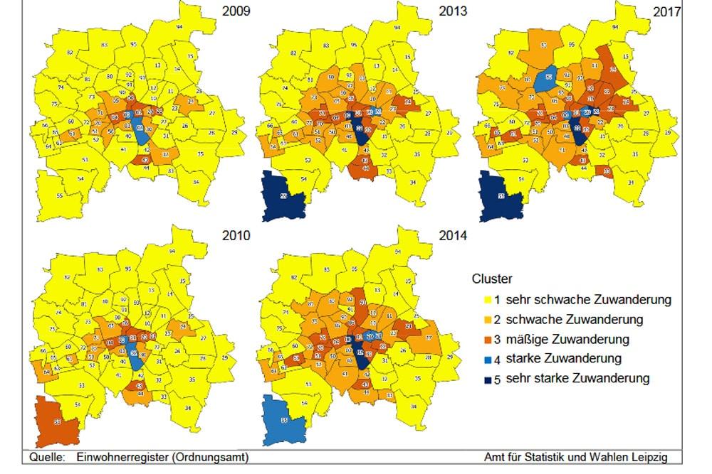 Zuwanderung in Leipziger Ortsteile in fünf Jahreskarten. Grafik: Stadt Leipzig, Quartalsbericht 3 / 2018