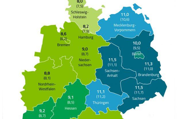 Diabetes-Prävalenzen nach Bundesländern. Grafik: Barmer