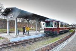 Der neue Triebwagen im Bahnhof Oschatz. Foto: Landratsamt Nordsachsen