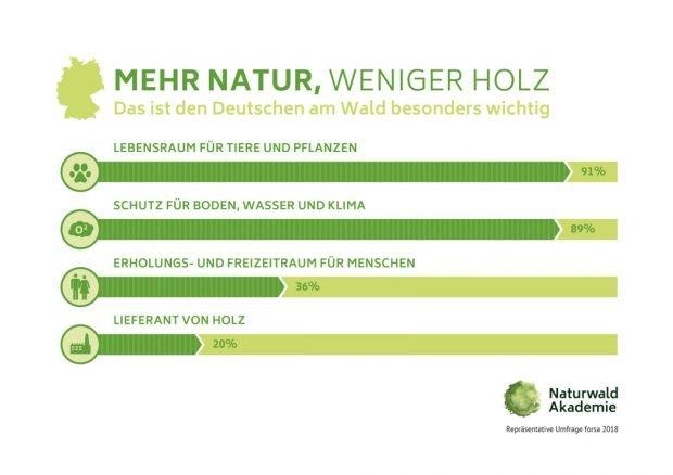 Ergebnisse der Forsa-Umfrage zum Umgang mit dem Wald. Grafik: Naturwald Akademie