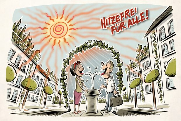 Hitzefrei für alle. Grafik: Glücklicher Montag