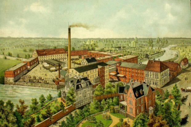 Das Mühlengelände in Großzschocher. Die Rote Villa ist unten rechts im Bild. Um 1910. Foto: Werner Franke