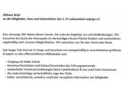 Alles offen oder was? Was passiert bei Lok Leipzig. Foto: Screen Offener Brief