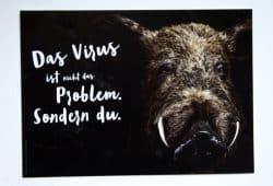 Die etwas seltsam formulierte Postkarte zur ASP. Motiv: Freistaat Sachsen, SMS