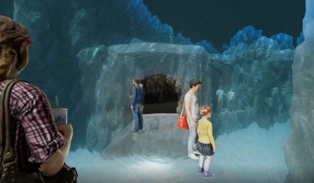 """Der geplante Unterwassertunnel im """"Feuerland"""". Visualisierung: Zoo Leipzig"""