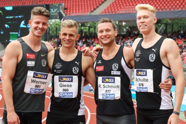 Die DM-Silberstaffel sprintet weiterhin für den SC DHfK. Von links: Ole Werner, Niels Torben Giese, Roy Schmidt, Marvin Schulte. Foto: Jan Kaefer