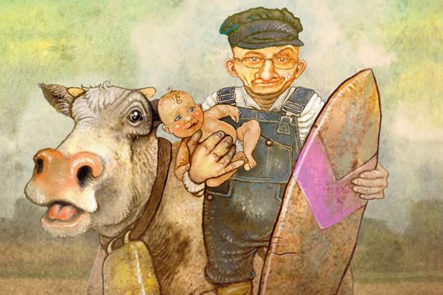 Cover Der auf der Kuh surft. Bild: Verlagsmaterial