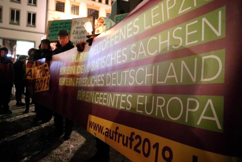 Das Frontbanner des Aufruf2019: Für Europa und ein demokratisches Sachsen. Foto: L-IZ.de